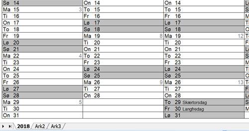 Kalender i Excel