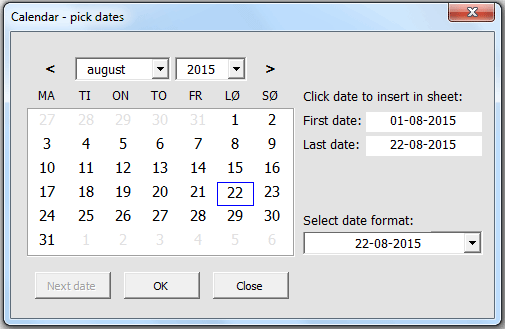 Calendar and date picker on userform - VBA only, no ActiveX