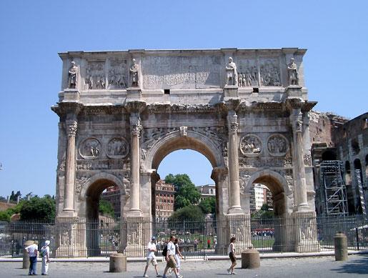 konstantins triumfbue arco di constantino er nabo til colosseum og